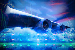 Composite 3d image of graphic airplane. Against stocks and shares Royalty Free Stock Photos