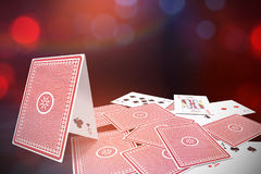 Composite 3d image of graphic image of card castle Royalty Free Stock Photography