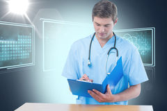 Composite 3d image of handsome surgeon writing on clipboard. Handsome surgeon writing on clipboard against composite 3D image of different application interface Stock Images