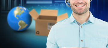 Composite 3d image of hhappy male courier man wearing headset. 3D image of happy male courier man wearing headset against graphic image of various graphs and Stock Photos
