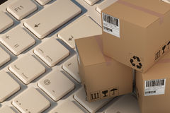 Composite 3d image of high angle view of cardboard boxes. High angle view of cardboard 3D boxes against finger pressing enter key Royalty Free Stock Image