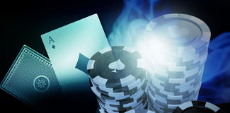Composite 3d image of  image of gambling chips. Vector 3D image of gambling chips against blue background with vignette Stock Image