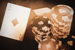 Composite 3d image of  image of gambling chips. Vector 3D image of gambling chips against dust powder against white background Stock Photography
