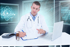 Composite 3d image of male doctor writing while sitting by desk. Male doctor writing while sitting by desk against composite 3D image of different interface Royalty Free Stock Photo