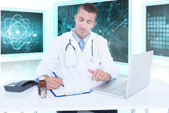 Composite 3d image of male doctor writing while sitting by desk. Male doctor writing while sitting by desk against white background with 3D vignette Royalty Free Stock Photos
