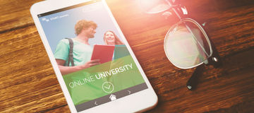 Composite 3d image of online university add Royalty Free Stock Images