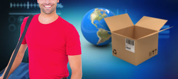 Composite 3d image of pizza delivery man holding bag. 3D image of pizza delivery man holding bag against image of various diagrams and graphs Royalty Free Stock Photo