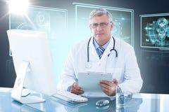 Composite 3d image of portrait of confident male doctor sitting at computer desk. Portrait of confident male doctor sitting at computer desk against composite 3D Stock Image