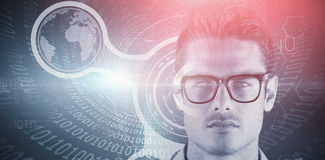 Composite 3d image of portrait of handsome young man wearing eyeglasses. 3D portrait of handsome young man wearing eyeglasses against spiral of shiny binary code stock images