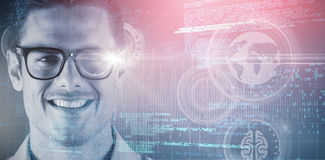 Composite 3d image of portrait of smiling handsome man wearing eyeglasses. 3D portrait of smiling handsome man wearing eyeglasses against grey vignette stock photography
