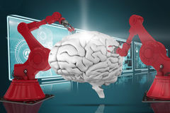 Composite 3d image of red robot arm with claw Stock Image
