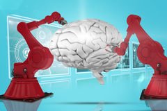 Composite 3d image of red robot arm with claw Royalty Free Stock Images
