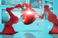 Composite 3d image of red robot arm with claw Stock Photography