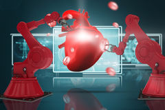 Composite 3d image of red robot arm with claw Stock Photo