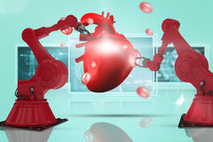Composite 3d image of red robot arm with claw Stock Images