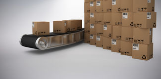 Composite 3d image of stack of brown cardboard boxes by conveyor belt. Stack of brown 3D cardboard boxes by conveyor belt against grey background Stock Image