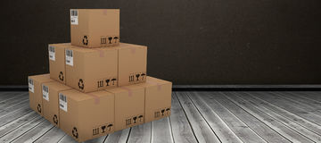 Composite 3d image of stack of packed cardboard boxes Royalty Free Stock Photography