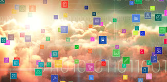 Composite 3d image of technology icons. Composite 3dDimage of technology icons against blue technology design with binary code Royalty Free Stock Image