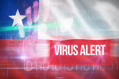 Composite 3d image of virus alert against blue technology design with binary code. Virus alert against blue technology design with binary code against digitally Stock Photos