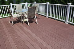 Composite Deck. Floor with outdoor furniture Royalty Free Stock Image