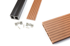 Composite decking board with mounting material Stock Image