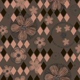 Hand drawn abstract buttercup flowers and rhombuses on brown background. vector illustration
