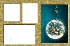 Christmas photo frames. Composite gold Christmas photo frame with one space filled with a rocking horse and sprig of holly and three empty spaces Stock Image