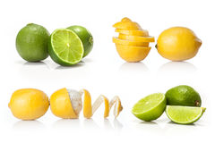 Composite with Green lime and yellow lemon isolated. On white background stock image