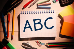 Composite image of abc on notepad Royalty Free Stock Image