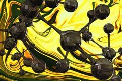 Composite image of abstract molecule model. Abstract molecule model against painting Royalty Free Stock Photos