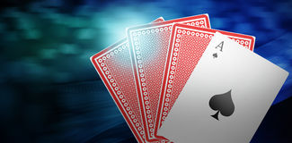 Composite image of ace of spades with playing 3d cards Stock Photo