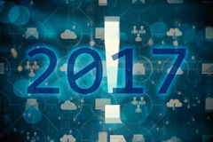 Composite image of 2017. 2017 against app wall Royalty Free Stock Photo