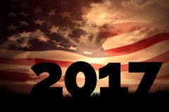 Composite image of 2017. 2017 against composite image of digitally generated american flag rippling Royalty Free Stock Photography