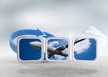 Composite image of airplane on abstract screen Stock Image