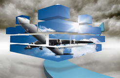 Composite image of airplane on abstract screen Stock Photography