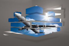 Composite image of airplane on abstract screen Stock Photo