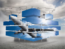 Composite image of airplane on abstract screen Royalty Free Stock Photos