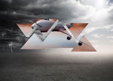 Composite image of airplane on abstract screen Royalty Free Stock Photo