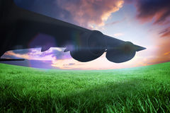 Composite image of airplane cast shadow Royalty Free Stock Photo