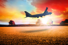 Composite image of airplane taking off Royalty Free Stock Images