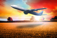 Composite image of airplane taking off Royalty Free Stock Photo