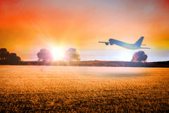 Composite image of airplane taking off Stock Photos