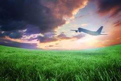 Composite image of airplane taking off Royalty Free Stock Photos