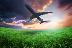 Composite image of airplane taking off Royalty Free Stock Image