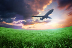 Composite image of airplane taking off Royalty Free Stock Photography