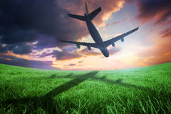 Composite image of airplane taking off Stock Photo