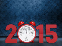 Composite image of 2015 with alarm clock. 2015 with alarm clock against dark grimy room Royalty Free Stock Images