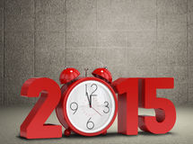 Composite image of 2015 with alarm clock. 2015 with alarm clock against grey room Royalty Free Stock Image