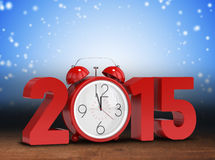 Composite image of 2015 with alarm clock Royalty Free Stock Photo