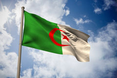 Composite image of algeria national flag. Algeria national flag against bright blue sky with clouds Stock Photography